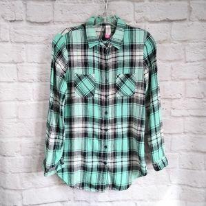 No Boundaries Cotton Flannel Button Down Shirt